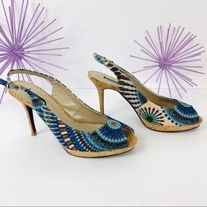 🎉 HP🎉 J Renee / Peacock Peep Toe Cork Heel